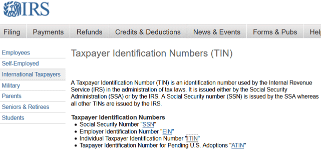 Screenshot of IRS Taxpayer ID Page