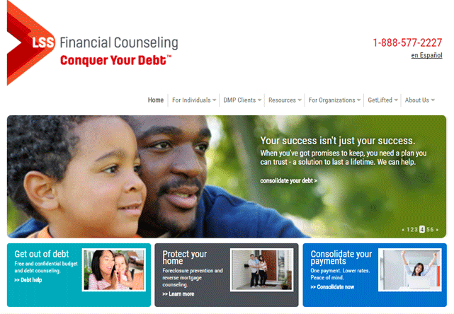 Screenshot of the LSS FInancial Counseling Homepage