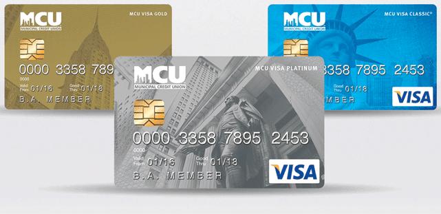 Photo of MCU's Classic, Gold, and Platinum Visa cards