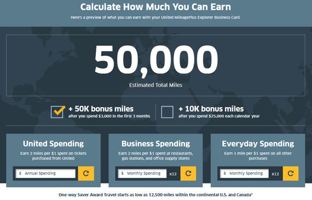 Screenshot of a rewards calculator on the United website