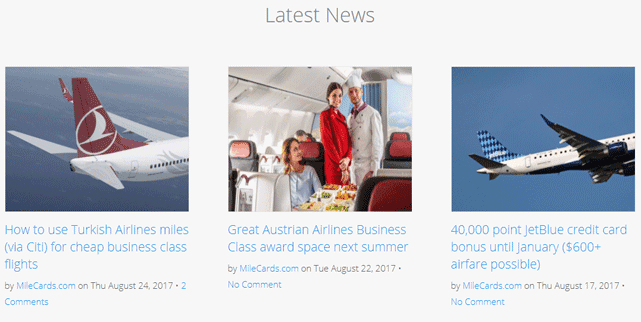 Screenshot from the MileCards.com Homepage