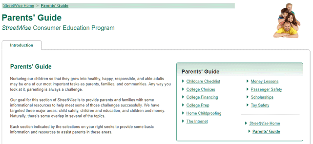 Screenshot of the DCU Parents' Guide