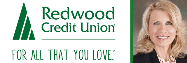 Collage of Redwood Credit Union Logo and a Portrait of Robin McKenzie