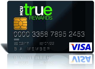 Image of an MCU TRUE Rewards Card Back VISA