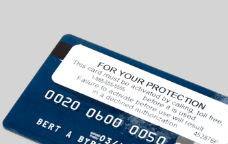 Picture of Credit Card with Activation Sticker