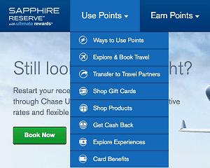 Screenshot of Ultimate Rewards Point Redemption