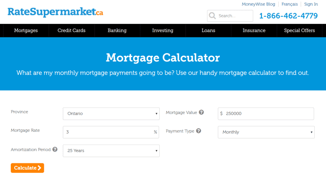 Screenshot of the Mortgage Calculator on RateSupermarket.ca