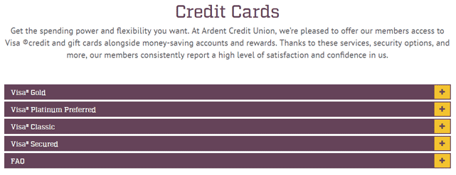 Screenshot from the Ardent Credit Union Credit Cards page