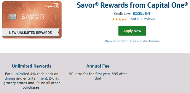 Screenshot from the Capital One® Savor® Cash Rewards Credit Card