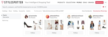Screenshot of StyleSpotter popular influencers page
