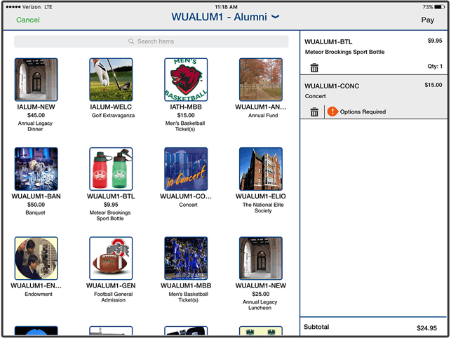 Screenshot of Cashnet's Online Storefront