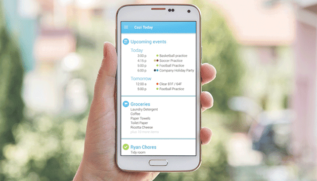 Photo of the Cozi App on an Android Phone
