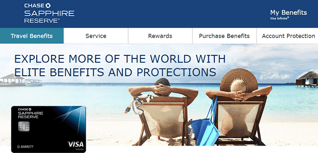 Screenshot of Chase Sapphire Reserve Travel Benefits Page