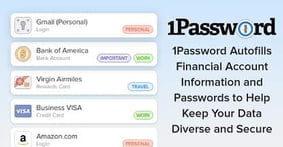 1Password Autofills Financial Account Information and Passwords to Help Keep Your Data Diverse and Secure
