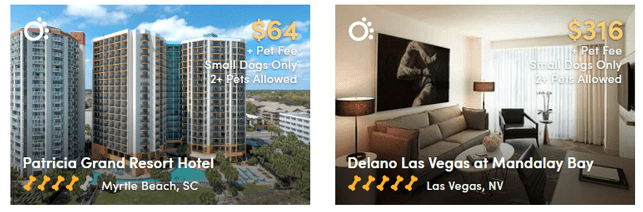 Screenshot of pet-friendly hotels found on BringFido