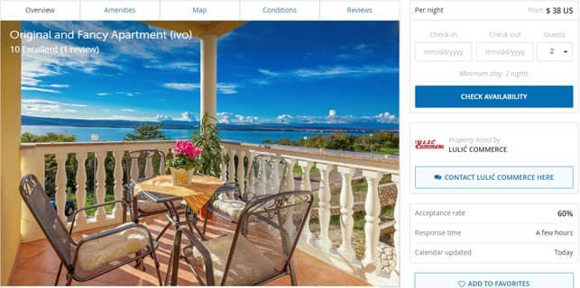 A Screenshot of a Property Available to Rent on the Wimdu Platform