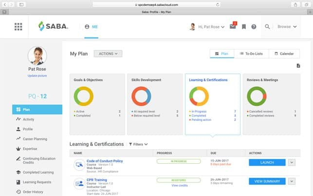 A Screenshot from the Saba Cloud Employee Platform