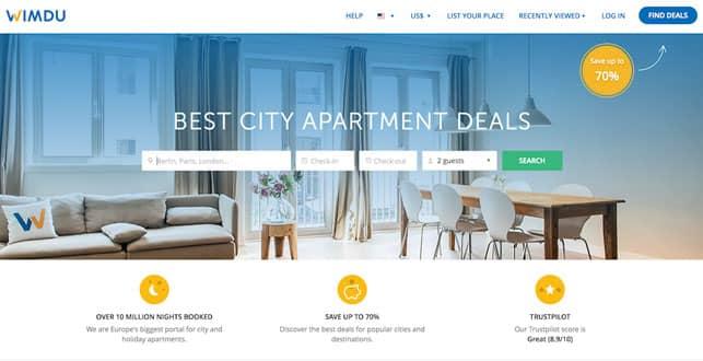 A Screenshot from Wimdu.com