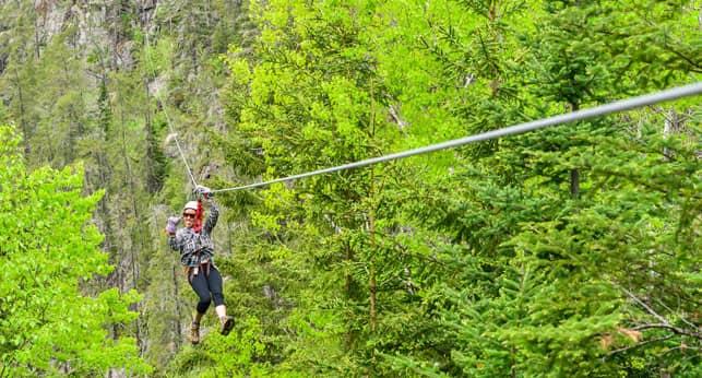 Photo of an ATTA Member Ziplining