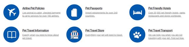 Screenshot of Pet Travel categories