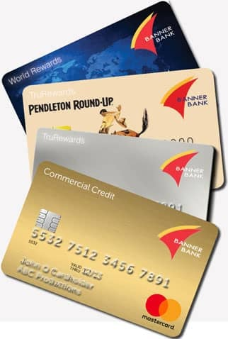 A Photo of Four of the Mastercard Cards Offered Through Banner Bank