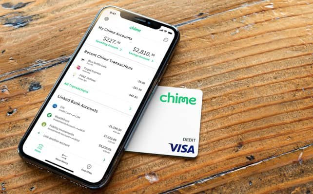 Image of the Chime App and Visa Debit Card