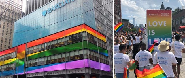 Photo collage of Barclays at the NY Pride Parade