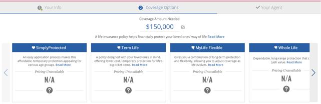 Screenshot of American Family Insurance calculator