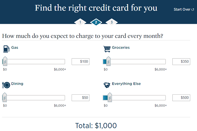 Screenshot of USAA Card-Finder Quiz