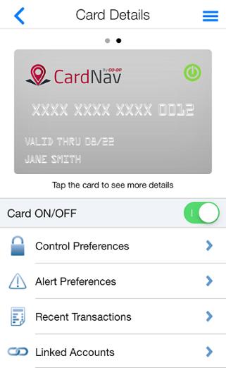 Screenshot of the Genisys CardNav App