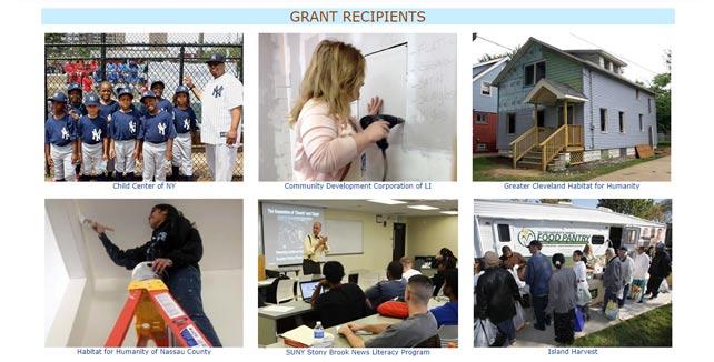 Screenshot of NYCB Foundation grant recipients