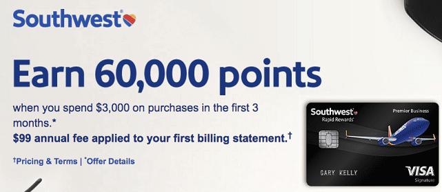 Screenshot of Southwest Airlines Credit Card Signup Bonus Offer