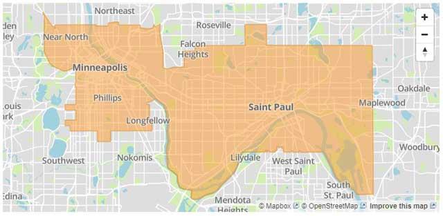 St. Paul Federal Credit Union service area map