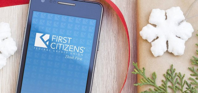Photo of First Citizens' Federal Credit Union app on a mobile device