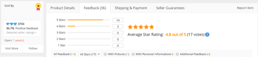 Screenshot of AliExpress feedback