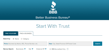 Screenshot of Better Business Bureau homepage