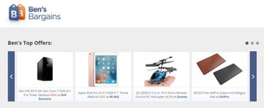 Screenshot of Ben's Bargains homepage