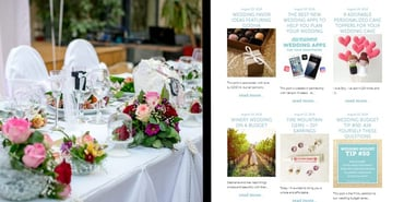 Screenshot of The Budget Savvy Bride feature articles