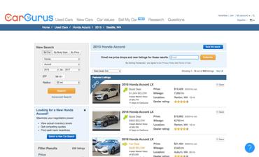 Screenshot of CarGurus' auto marketplace