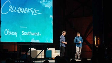 Photo of Classy co-founders speaking at the Collaborative speech