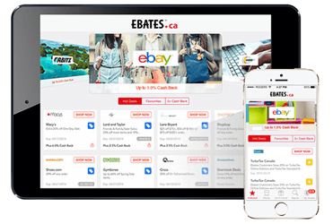 Screenshots of Ebates'ca's site in English and French