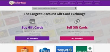 A screenshot of Gift Card Granny's marketplace