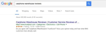 Screenshot of Trustpilot review embedded in search