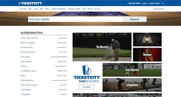 Screenshot of TicketCity Website