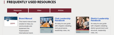 Screenshot of Toastmasters frequently used resources