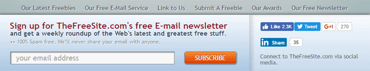 Screen grab of a sign-up button for TheFreeSite.com's newsletter