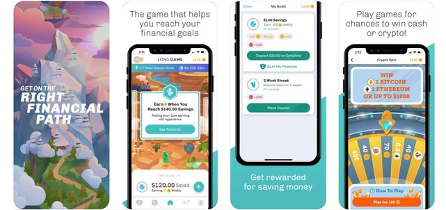 Screenshots of the Long Game Savings app on a mobile device