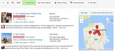 Screenshot of Yelp search page results
