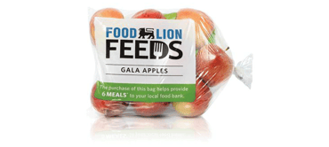 Photo of a Food Lion Feeds bag of Gala apples