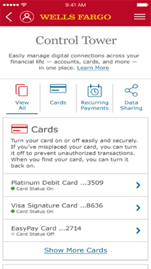 Screenshot of Wells Fargo Mobile App Card On/Off